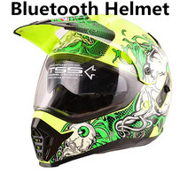 Capacete da motocicleta Do Bluetooth Interfone Interfone Interfone Headset fone de Ouvido com a Comunicação cross road viseiras duplas