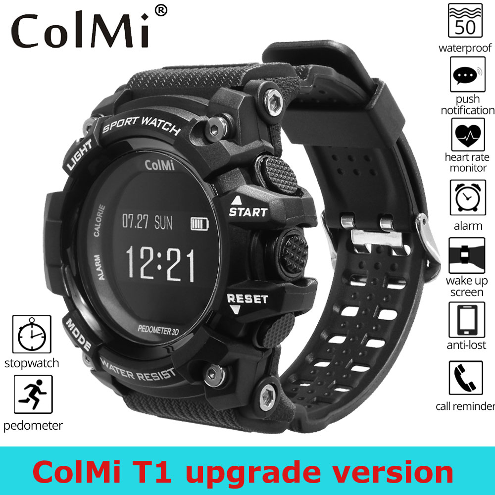 ColMi T1 Smart Watch Bluetooth Heart Rate Monitor IP68 Waterproof Smartwatch Pedometer Fitness Activity Tracker Smart Bracelet colmi v11 smart watch ip67 waterproof tempered glass activity fitness tracker heart rate monitor brim men women smartwatch