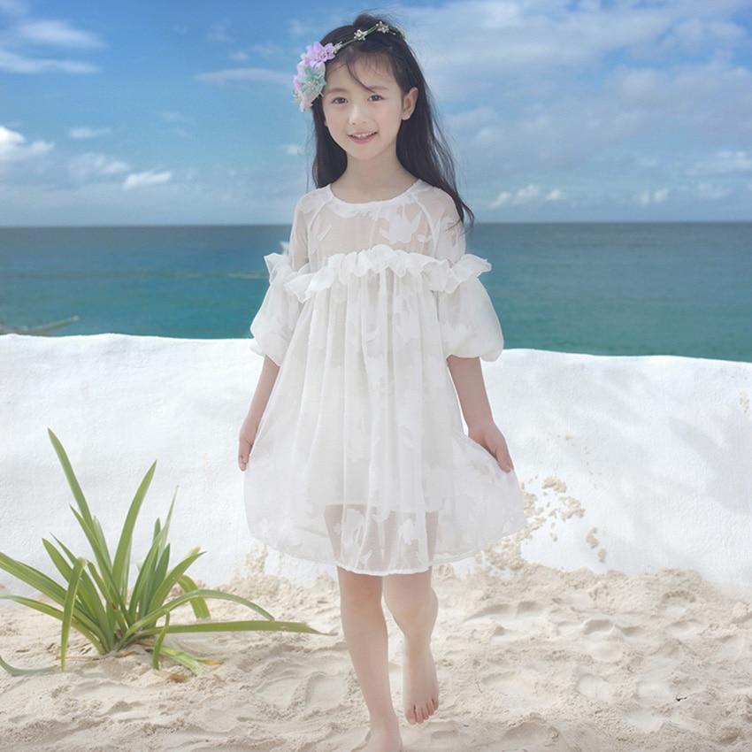 Girls White Beach Wedding Dresses