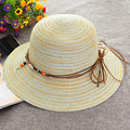 Las Mujeres de moda de Playa Del Verano Del Borde Sun Sombrero de Algodón de lino Elegante Tapa Ocasional