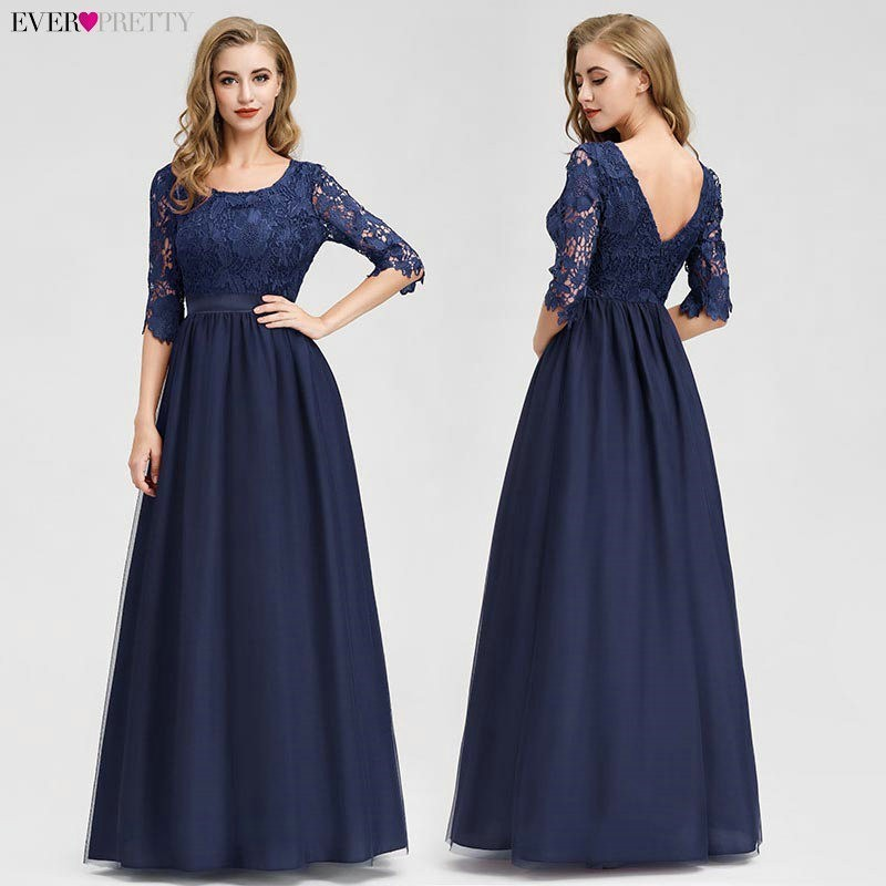 Image 2 - Lace Evening Dresses Long Ever Pretty O Neck A Line Half Sleeve Sexy Appliques Elegant Women Evening Gowns Robe De Soiree 2019-in Evening Dresses from Weddings & Events