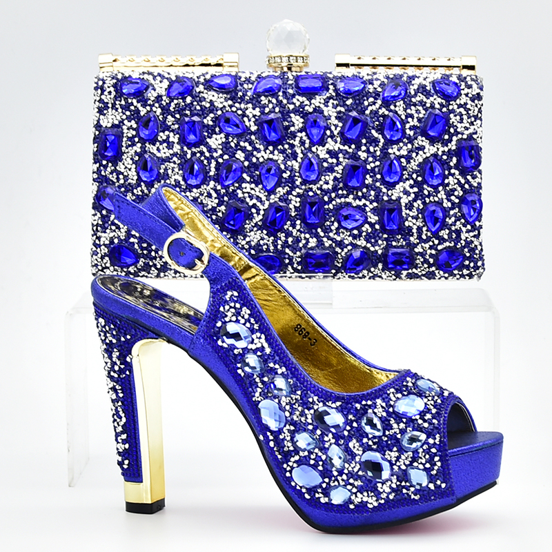 New Royal blue African Shoes and Bags Matching Set High Quality Italian Matching Shoe and Bag Set Italy Shoe and Bag Match black color women high heels pumps african shoes and matching bags italian italy shoe and bag set to match for party 66077