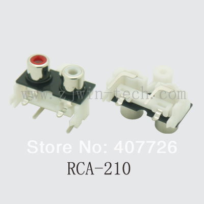 4pcs/lot RCA jack connector female socket audio/video jack 2holes(red+white) RCA-210 50 pcs rca female to 2 female rca socket audio splitter converter video audio