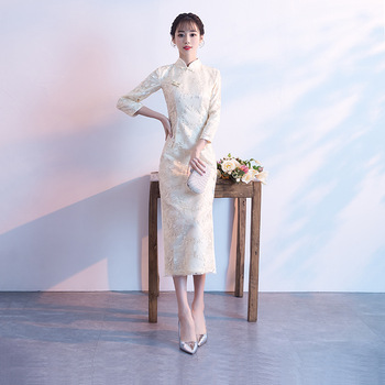 Beige Wedding Qipao Long Cheongsam Modern Chinese Traditional Dress Sexy Cheongsam Dress Robe Chinoise Vestido Oriental Prom