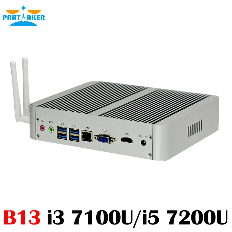B13 Core i7 7500U i5 7200U i3 7100U 7th Gen Kaby Lake Mini pc Windows 10 Fanless Computer TV Box 4K HD Display HTPC 300M Wifi