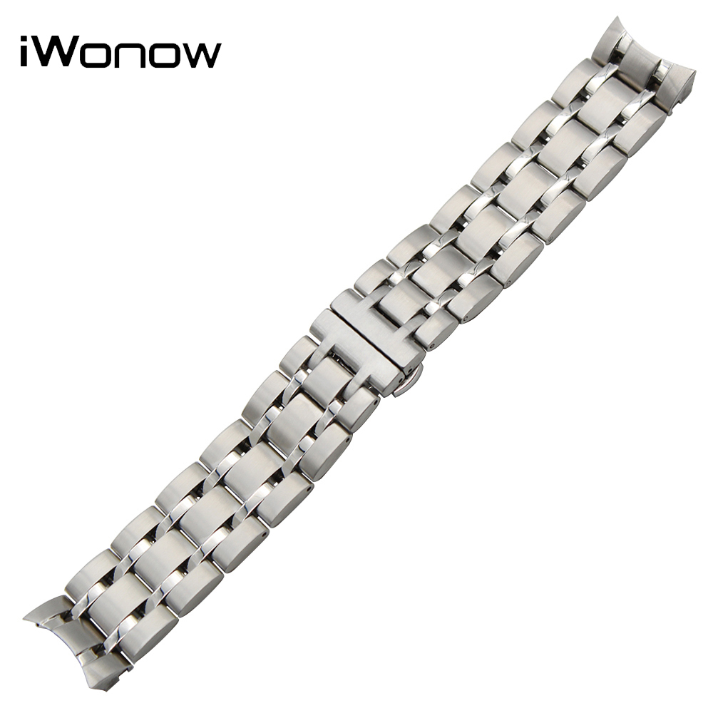 23mm Stainless Steel Watchband for Tissot 1853 T035 Men Women Watch Band Curved End Strap Wrist Bracelet Silver + Spring Bar 23mm 24mm silicone rubber watch band for tissot 1853 t035 t087 men stainless steel carved pattern buckle strap wrist bracelet