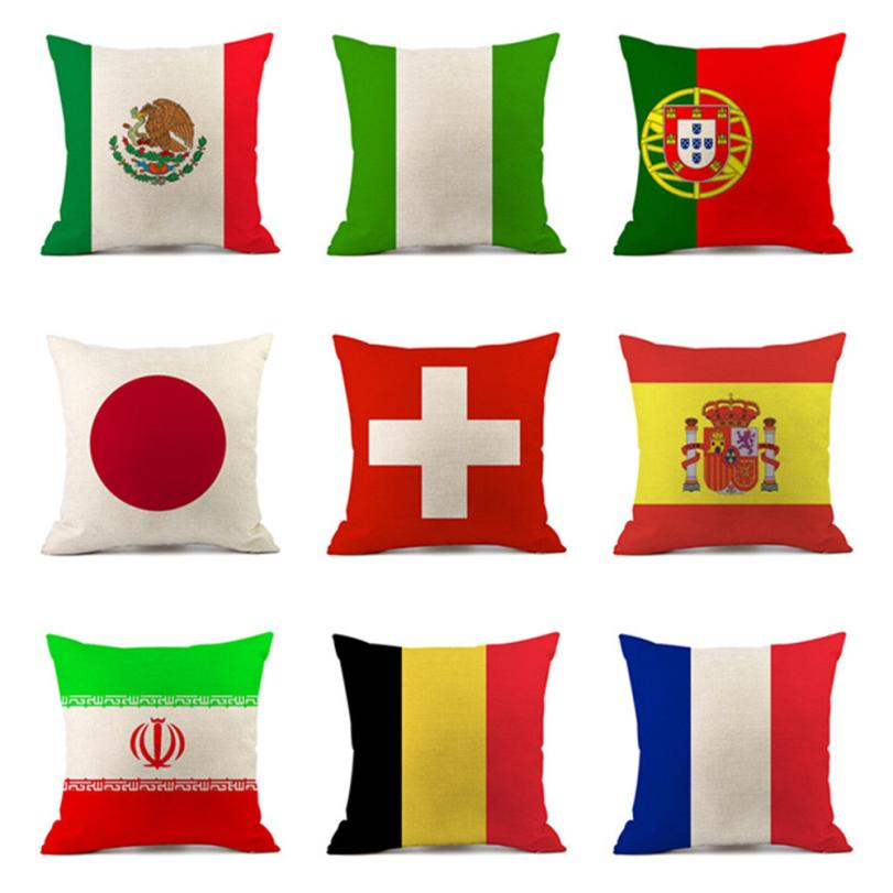 OUNEED HOT!Home Decor Pillow Digital Printing World Cup 32 National Cup Flag Pillow Case National flag Dropshiping jun25