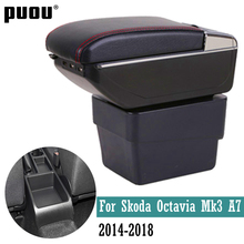For Skoda Octavia Mk3 A7 2014 2020 Dual layer Armrest box Centre Console Storage Box ashtray Car Styling decoration accessories