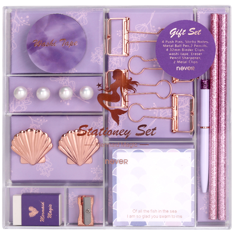 Image 5 - Never Mermaid Series Christmas Stationery Set Binder Paper Clips Ballpoint Pen Memo Pad Washi Tape Business Office Gift Sets-in Stationery Set from Office & School Supplies