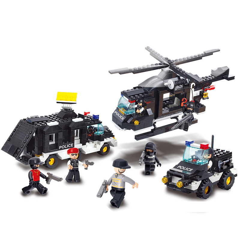 City Riot SWAT Police Team Helicopter Car Block Building Construction Children's Toys