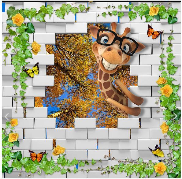 3d Fototapete Benutzerdefinierte Decke Tapete Wandmalereien 3 D Schne Giraffe Zenit Wohnzimmer
