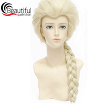 Long Natural 613# Blonde Synthetic Single Braids Lace Front Fiber Hair Wig Heat-Resistant Straight Wig Beautiful Queen Hair(China)