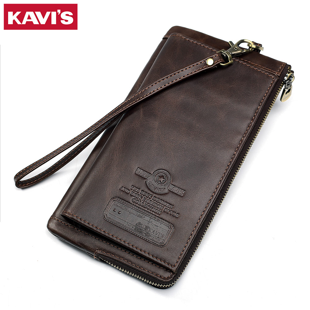KAVIS Genuine Leather Wallet Men Male Clutch Phone Bag Coin Purse Walet Portomonee Long Clamp for Money Handy Card Holder Strap contact s genuine leather vintage men wallets coin purse card holder small wallet portomonee male clutch zipper clamp for money