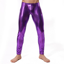 Sexy Men Skinny Faux PU Leather Pants Wetlook Trousers Stage Performance Leather Pants Low Waist Men Legging Sexy Vinyl Leggings