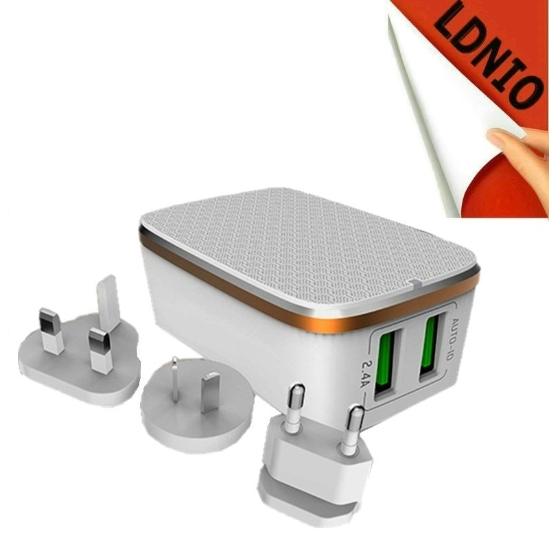 Clearance Sales 2 USB Ports travel wall home <font><b>Charger</b></font> fold able EU AU US UK socket optional for <font><b>cell</b></font> <font><b>phone</b></font> Android IOS white box