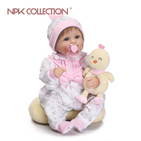 NPKCOLLECTION Cute Silicone Rebron Baby Dolls Newborn Baby 17inch Realistic Princess Kids Playmates Bebe Reborn Fashion DIY Toys