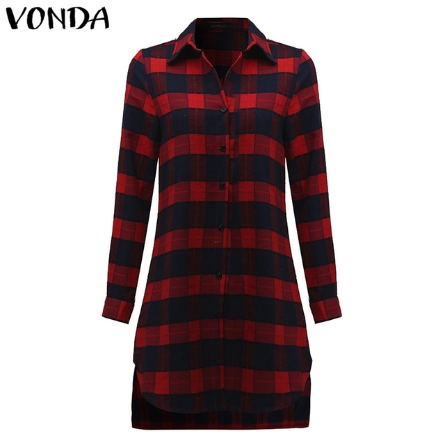 VONDA Pregnant Women Plaid Blouse Shirts 2018 Spring Fall Vintage Lapel Long Sleeve Pregnancy Tops Plus Size Maternity Clothings