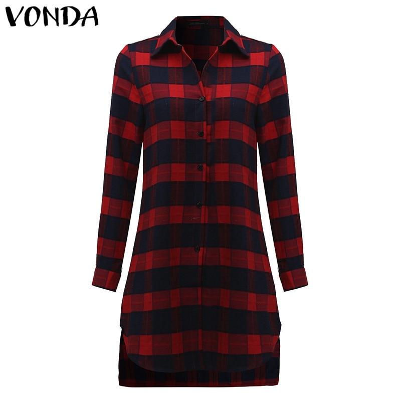 VONDA Pregnant Women Plaid Blouse Shirts 2018 Spring Fall Vintage Lapel Long Sleeve Pregnancy Tops Plus Size Maternity Clothings