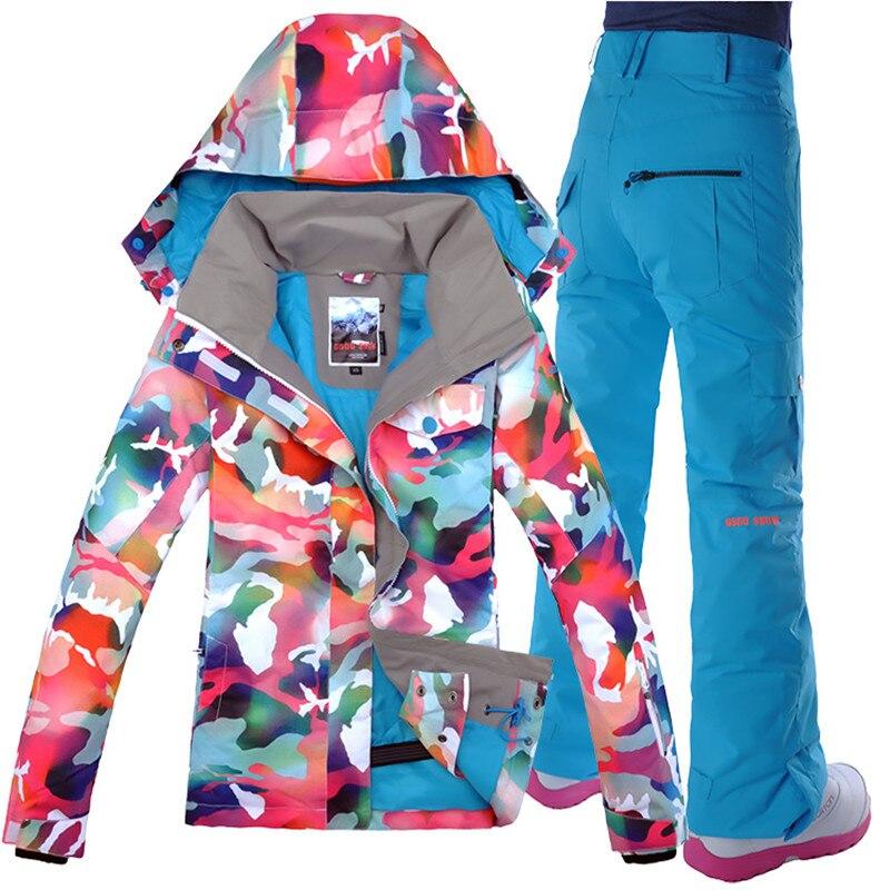 Veste de costume de Ski + pantalon plaque combinaison de Ski femme Gsou combinaison de Ski de neige, extérieur, nouvelle alpinisme imperméable, planche simple Double pont