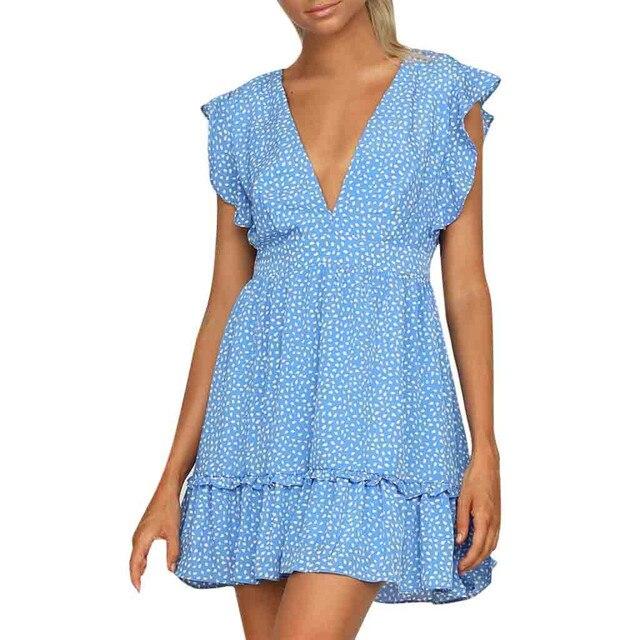 Dress Women Summer 2019 Sexy Deep V Neck Short Sleeve Dot Printed Evening Party Dress Retro Summer Dress 2019 robe femme