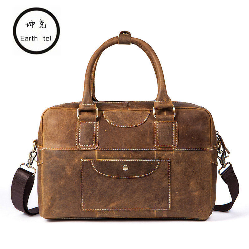 Genuine Crazy Horse Leather Men Business Briefcase Messenger Handbags Men's Travel Laptop Bag Crossbody Bag Shoulder Tote Bags retro crazy horse genuine leather bag business laptop bag briefcase men leather crossbody bag shoulder messenger men tote bag