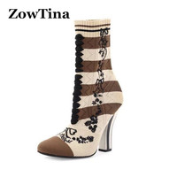 New Fashion Women Knitting Autumn Boots Embroidery High Heels Botas Mujer Large Size 43 Elastic Booties