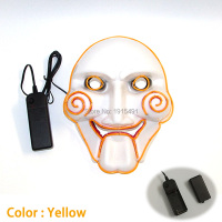 New style Sparkling Role Play Party LED cold light Mask Novelty Lighting DC 3V EL wire Movie Theme Mask as Festival Party gift