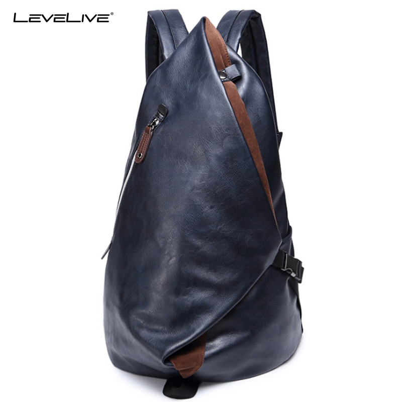 LeveLive New Fashion Mens Backpacks Waterproof Travel Bags for Men School Bag Leather Laptop Backpack Male Bagpack Shoulder Bag