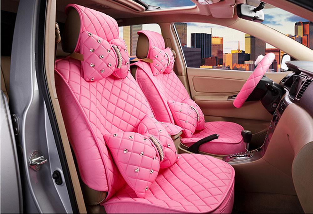 2016 new superior quality luxury pink seat covers leather