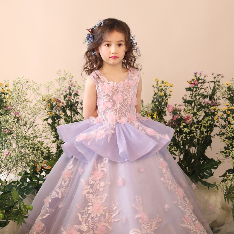 Princess Girls Dress Prom Ball Gown Party Evening Communion Lace Flower Costume Appliques Floral Girl Wedding Dresses JF501Princess Girls Dress Prom Ball Gown Party Evening Communion Lace Flower Costume Appliques Floral Girl Wedding Dresses JF501