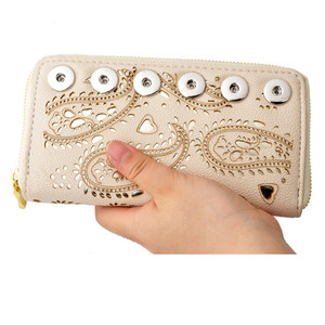 Image 1 - 2018 New Fashion Rivca Women Leather Long Card Holder Wallet New Fashion Design Youself Handbag Fit 18mm Snap Button Wallet