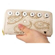 2018 neue Mode Rivca Frauen Leder Lange Karte Halter Brieftasche Neue Mode Design Youself Handtasche Fit 18mm Druckknopf brieftasche