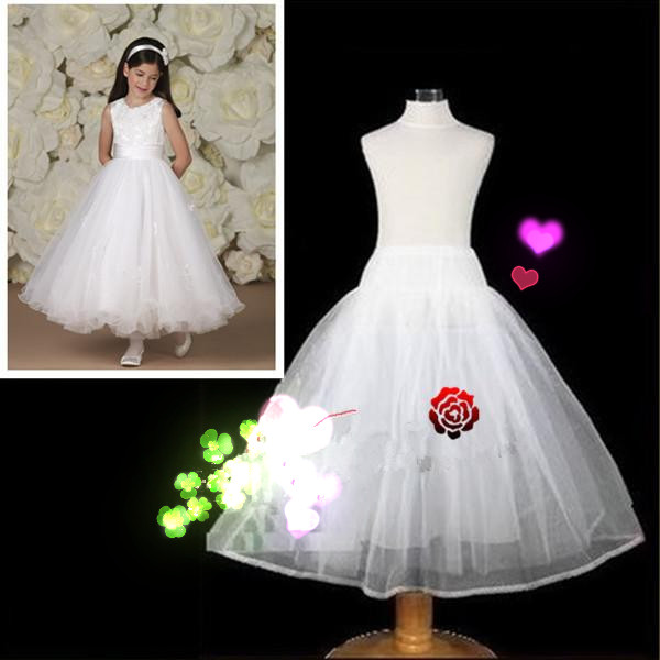 98d2a6a71315 High Quality 2016 Long Crinoline Petticoat for Kids Flower Girl Dress Real  Photo No Hoops Accessories
