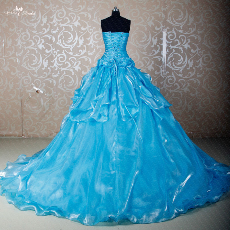 0afb66cbcb8e6 RS280 Custom Made DIY Seperate Pick Up Shine Organza Skirt Used For Ball  Gown Dress Blue Princess Prom Dresses-in Quinceanera Dresses from Weddings  & Events ...