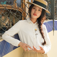 INMAN 2019 Spring Clothes Cotton Embroidered Filleted Corner Lapel Blouse Women Tops Women Shirt Women