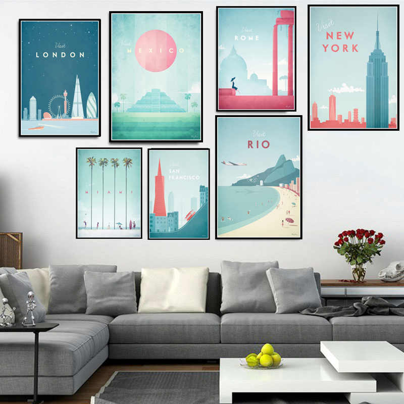 Poster Prints Painting  Minimalist New York Travel City London Los Angeles Mexico Wall Art Pictures Living Room Home Decoration