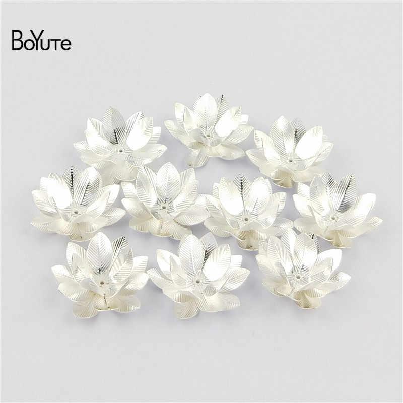 BoYuTe (10 adet/grup) 26 MM Gümüş Altın Bronz Metal Pirinç Telkari Lotus çiçek dekorasyonu