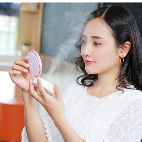 mini espelho de maquiagem led com pulverizador
