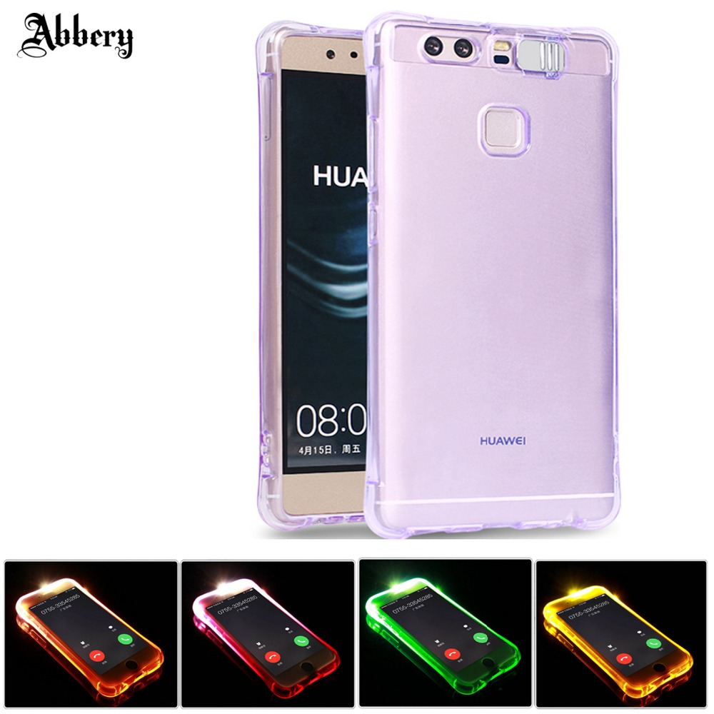 Abbery Case For Huawei P8lite Soft TPU Case LED Flash Light Up Remind Incoming Call Cover Cases for Coque Huawei P9 P9lite case