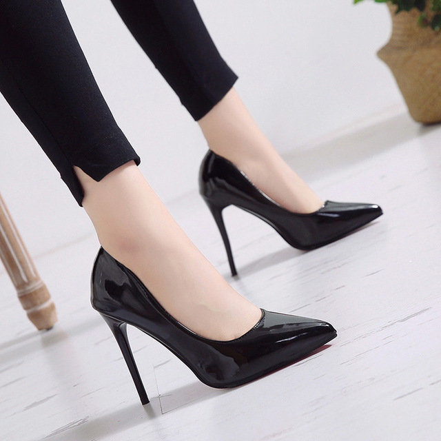 New Pointed Toe Leather Women Pumps Fashion Office Shoes Women Sexy High Heels Shoes Thin Heel Women 's Wedding Shoes