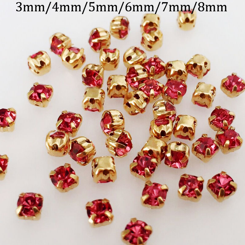 Detail Feedback Questions about Rose red color glass sew on rhinestone gold  claw 69049aa3676e