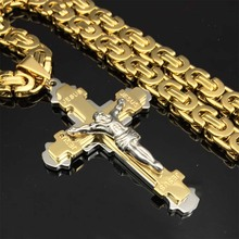 Heavy Crucifix Jesus Cross Necklace Stainless Steel Christs Pendant Gold Byzantine Chain Men Necklaces Jewelry Gifts 24""