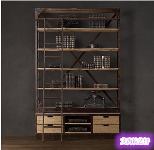 American country imported iron ladder bookcase shelves wood clapboard shelf racks with drawers floor-