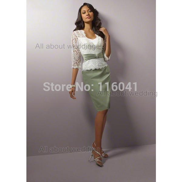 Costume Fazer Pencile Vestido Mãe Do Casamento Top de Renda de Três Quartos Na Altura Do Joelho Vestidos Mãe