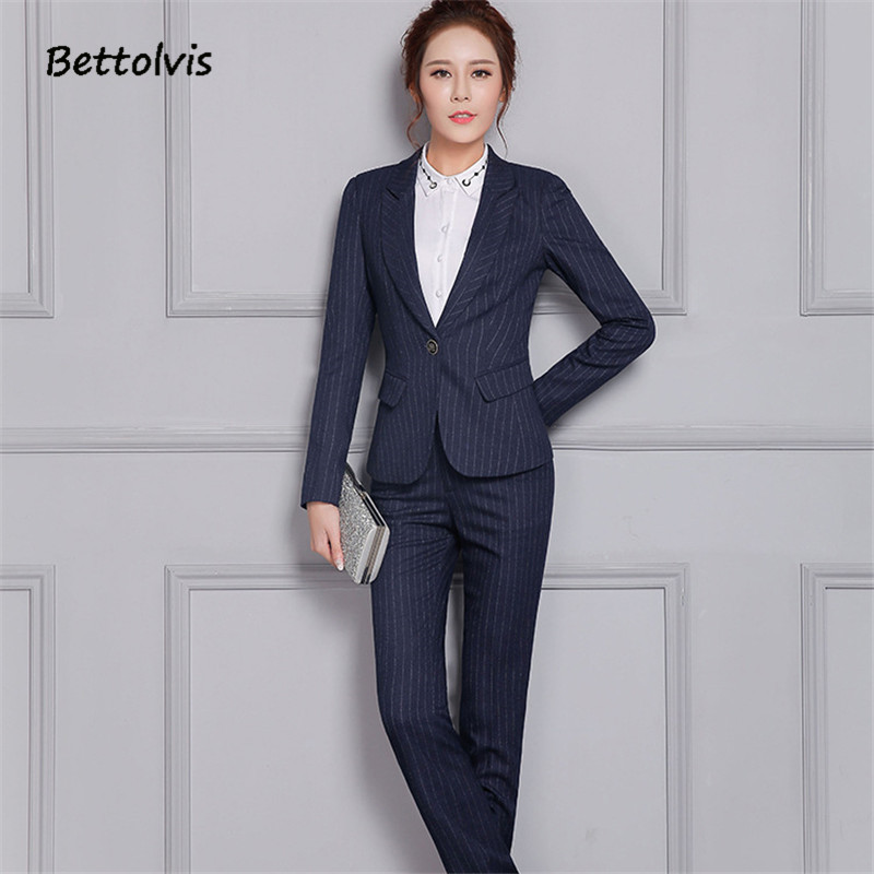 Bettolvis 2017 Spring Autumn formal female stripe blue blazer pants suits slim office ladies trousers work wear suits B957