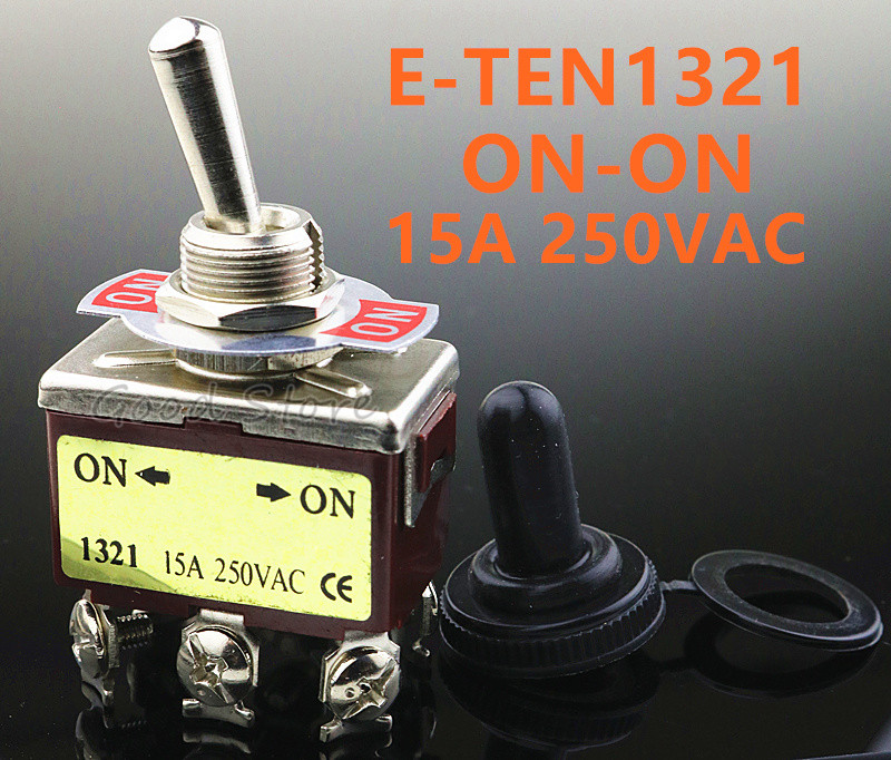 1pcs E-TEN1321 12mm 250V 15A 6 Pin ON-ON Toggle Switch Rocker Switch DPDT Brown