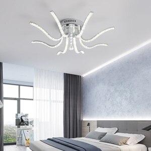 Image 3 - Neo brilho acabamento cromado cristal rc moderno led luzes de teto para sala estar quarto sutdy lâmpada do teto pode ser escurecido