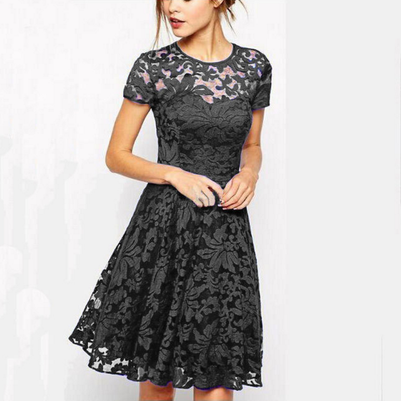 5XL Plus Size Fashion Women Elegant Sweet Hallow Out Lace Dress Sexy Party Princess Slim Summer Dresses Vestidos Red Blue 1