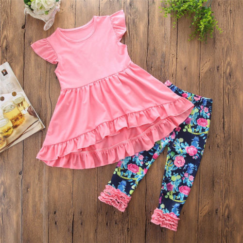 Smart Boutique Kids Baby Girls Vest Top Dress Flower Leggings Pants Outfits Clothes And To Have A Long Life. Clothing Sets