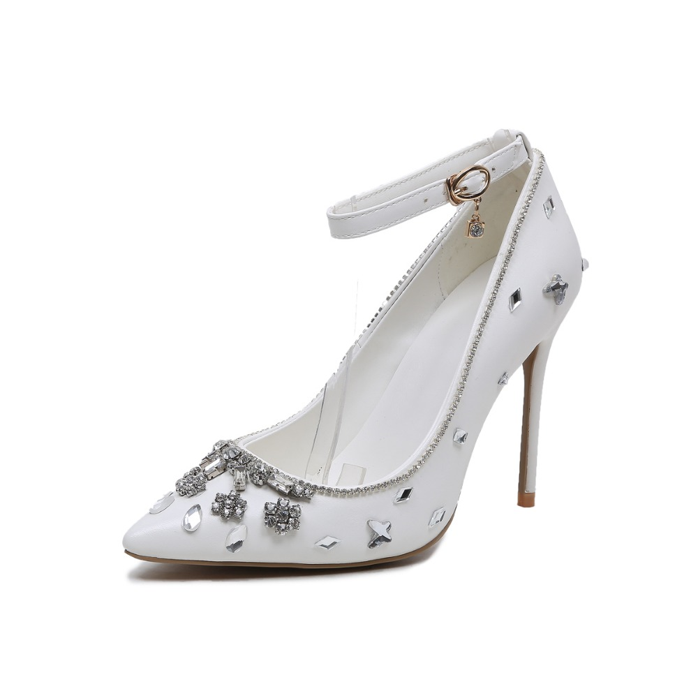 Super Beautiful Women Pumps 2017 Elegant Pointed Toe Thin Heels Wedding Pumps Fashion White Shoes Woman Plus Size 4-10.5 bowknot pointed toe women pumps flock leather woman thin high heels wedding shoes 2017 new fashion shoes plus size 41 42